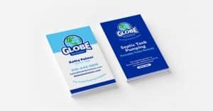 Business cards re-designed for Globe Sanitation in Ellicott City, MD.